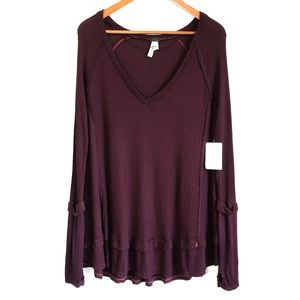 NWT Free People Laguna Long Sleeve V-Neck Thermal